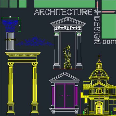 Free Home Design Software Ubuntu classical architecture style facades parts for autocad