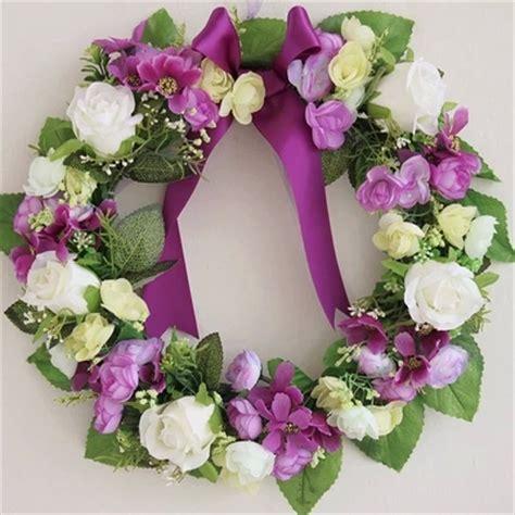 flowers home decoration purple artificial flowers wreath garland door