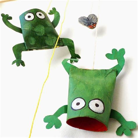 paper frog craft paper roll croaking frogs great summer crafts crafts
