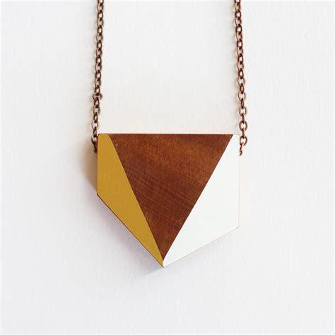 wooden necklace geometric wooden necklace felt