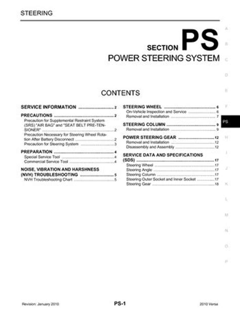 electric power steering 2010 nissan versa auto manual 2010 nissan versa power steering system section ps pdf manual 18 pages