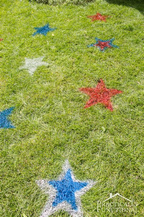 spray paint yard 4th of july spray painted lawn