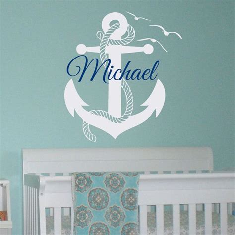 nautical wall stickers wall decal boy personalized initial name wall decals