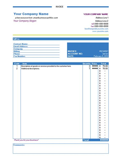 excel invoice template free invoice example