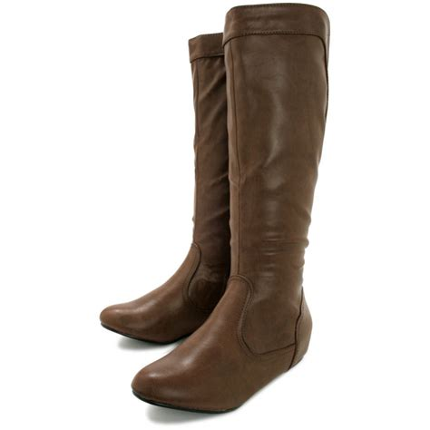 leather knee high boots for buy aileen wedge heel stretch knee high boots leather style