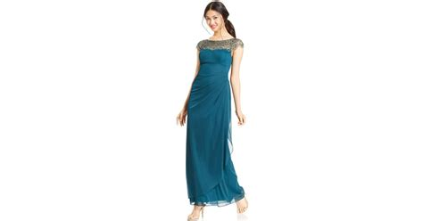 xscape beaded illusion gown xscape cap sleeve illusion beaded gown in green lyst