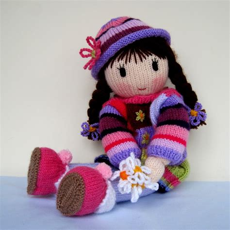 how to make a knitting doll posy doll knitting pattern instant by dollytime