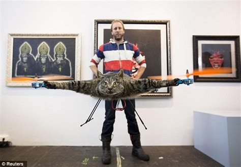 dead cat painting cats away artist turns his dead pet into flying
