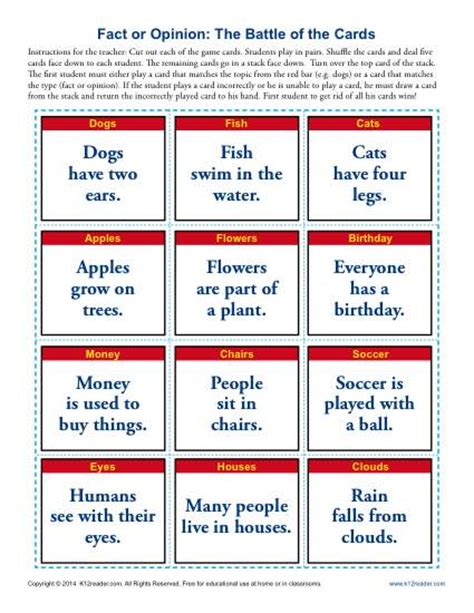 picture books to teach fact and opinion the battle of the cards fact and opinion worksheets for