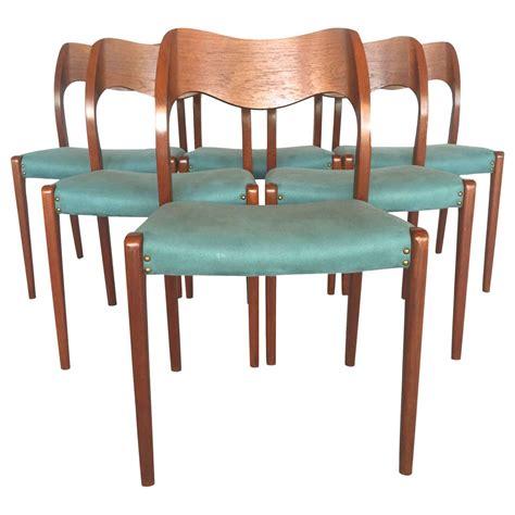 turquoise dining set set of 6 turquoise jl m 248 ller teak dining chairs at 1stdibs