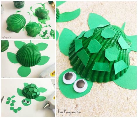 seashell crafts seashell turtle craft seashell craft ideas easy peasy