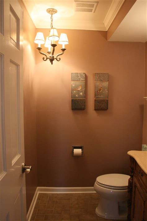 half bath update home stories half bath with chandelier traditional powder room