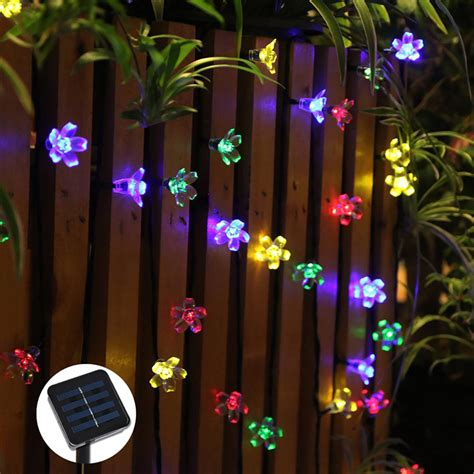 string flower lights 50 leds flower solar led string lights