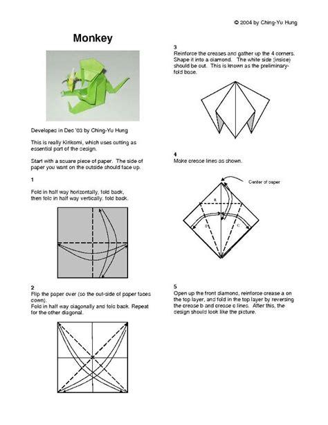 origami monkey diagram origami monkey vs1 by cy hung
