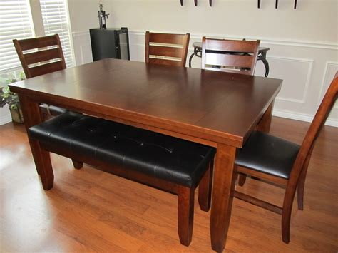 dining room set with bench seating simple cheap untreated mahogany dining table with bench