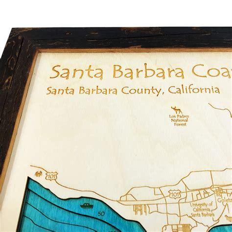 santa barbara woodworking santa barbara ca 3 d nautical wood map 14 quot x 18 quot on