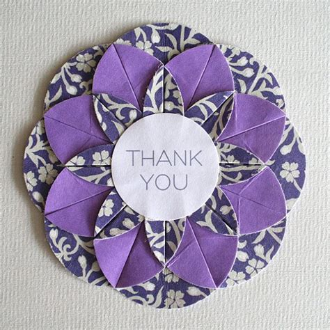 Handcrafted Thank You Card Unit Origami Folded Circle