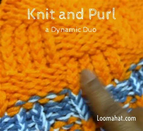 loom knitting purl stitch knit and purl stitch text picture and tutorial
