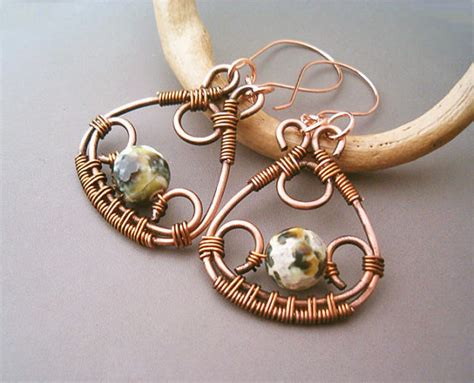 how to make copper jewelry from wire wire wrapped earrings copper and green crackle agate
