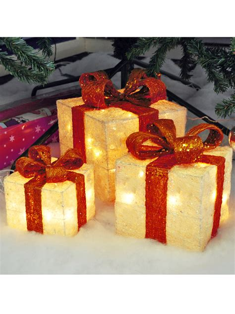 light up gift box decoration light up gift boxes presents set of 3 glitter