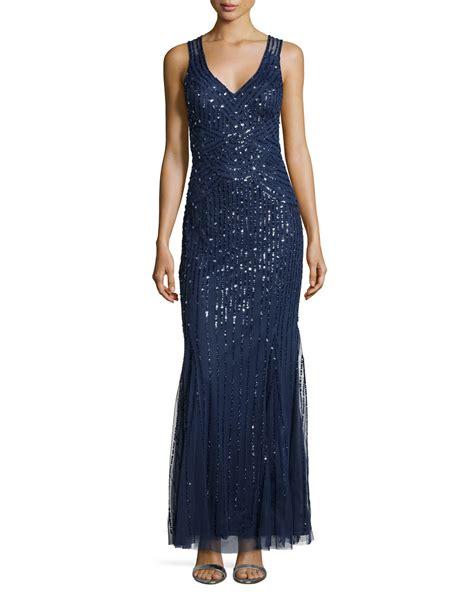 aidan mattox beaded gown aidan mattox beaded sleeveless gown in blue lyst