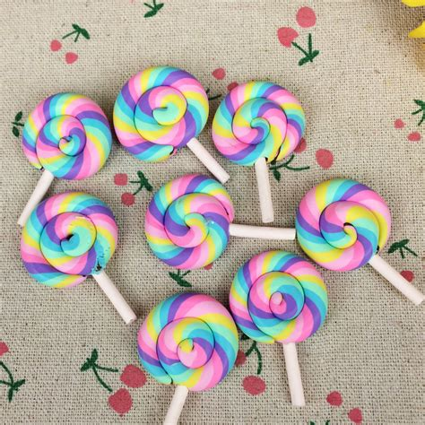 lollipop crafts for 10pieces flat back clay cabochon kawaii rainbow color