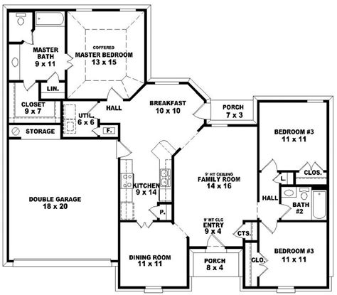 and bathroom house plans 3 bedroom 2 bath floor plans marceladick
