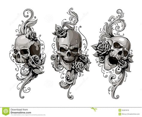skulls with floral patterns royalty free stock image