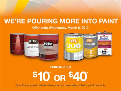 home depot paint rebate home depot canada paint deals receive 10 or 40 on behr