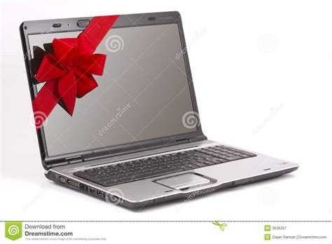 with computer laptop gift royalty free stock photography