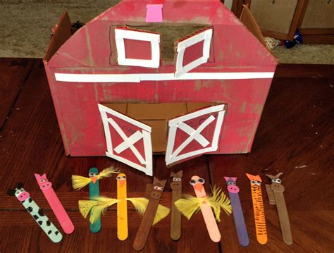 farm crafts for farm crafts cardboard box barn popsicle stick animals