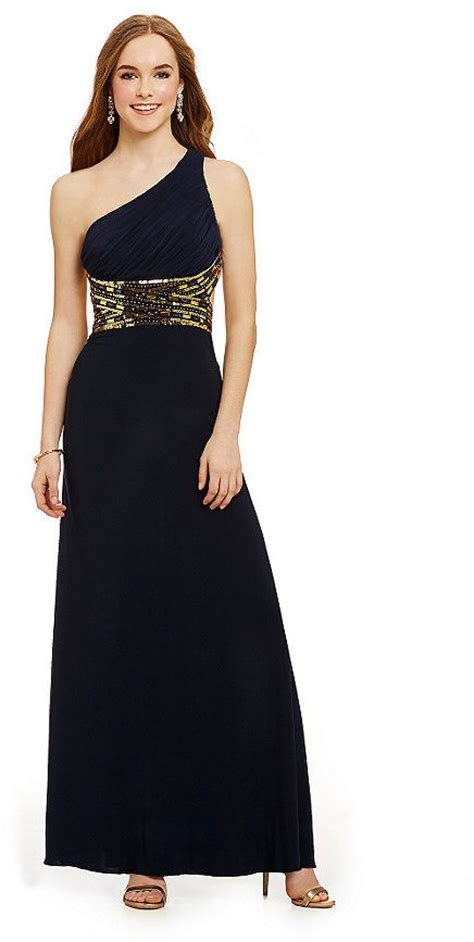 blondie nites one shoulder beaded gown blondie nites one shoulder sequin trim dress shopstyle