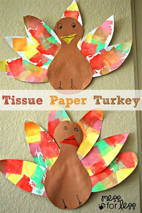 craft from tissue paper tissue paper turkey craft mess for less