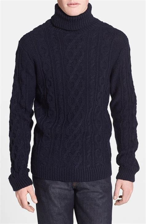 mens chunky knit sweater topman chunky cable knit turtleneck sweater