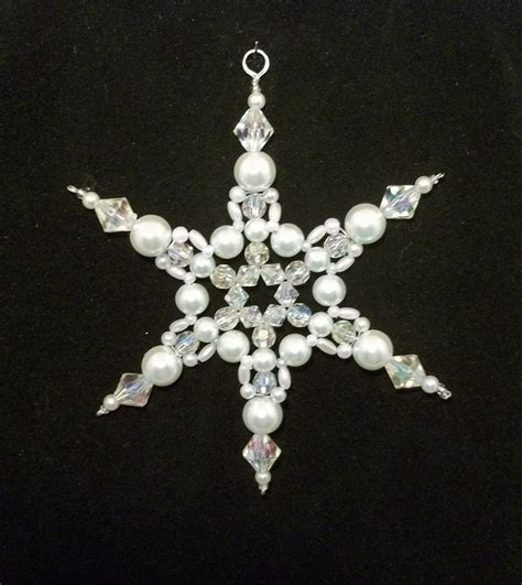 beaded snowflake ornaments snowflake ornament white pearl and clear ab
