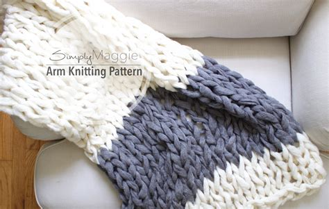 simply maggie arm knitting color block throw pattern by simply maggie simplymaggie