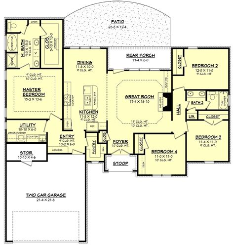 house plans with large bedrooms traditional style house plan 4 beds 2 baths 1875 sq ft plan 430 87