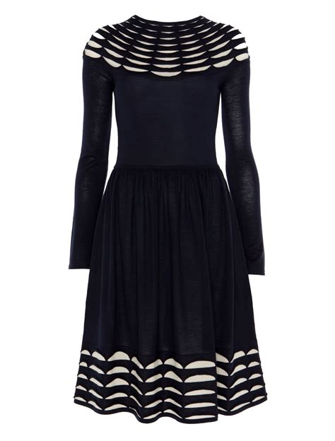 pleated knit dress temperley pleated knit flared dress in blue navy