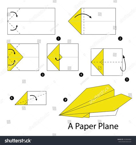 how to make origami aeroplane step by step how make stock vector 353904404