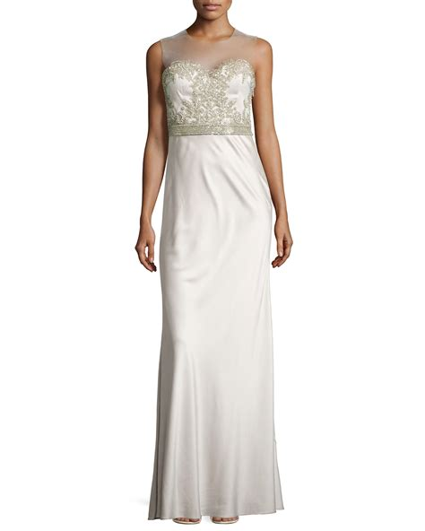 beaded illusion gown catherine deane beaded illusion neck gown in gray opal