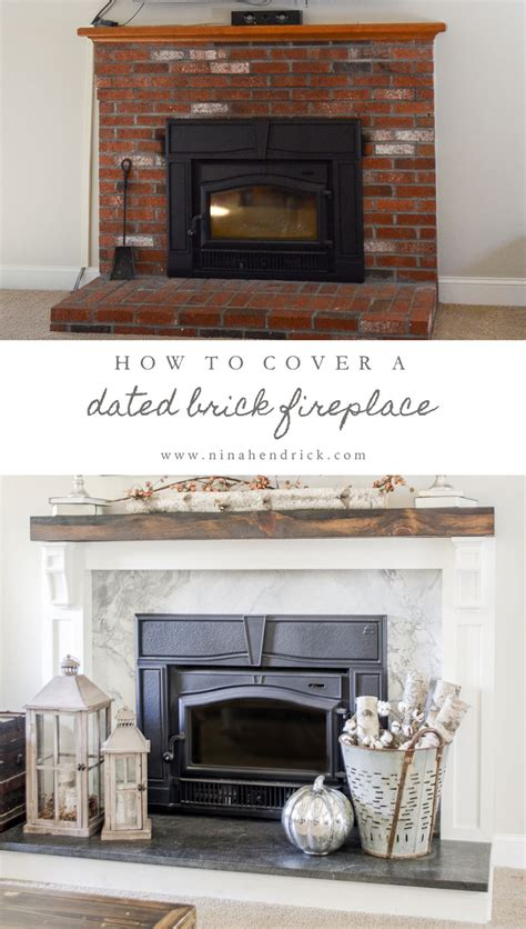 covering up a fireplace how to cover your brick fireplace modern farmhouse style