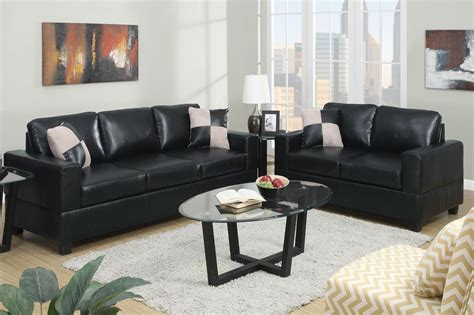 leather sofa and loveseat sets poundex tesse f7598 black leather sofa and loveseat set