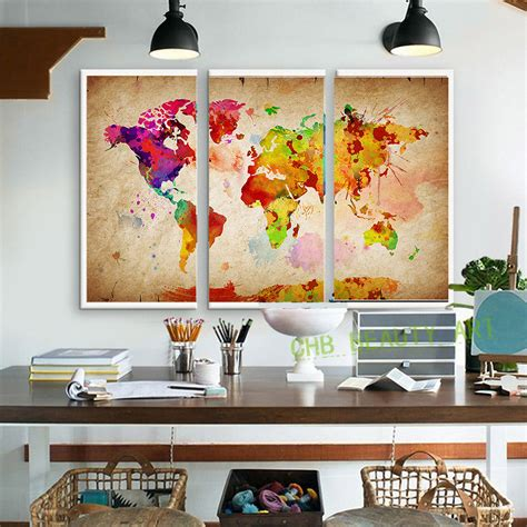 canvas paintings for rooms 3 pieces canvas wall canvas painting world watercolor