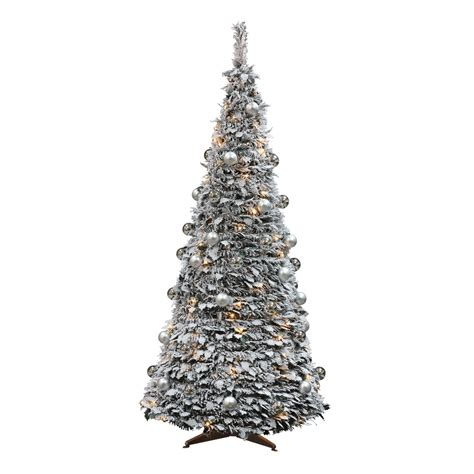 pop up tree pre lit pre lit 6ft frosted pop up tree with decorations