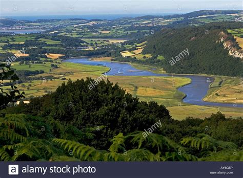 from up above river conwy and conwy valley above dolgarrog towards coast