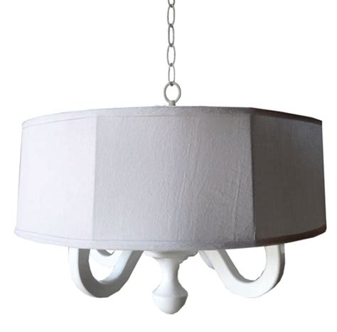 white drum chandelier white linen drum chandelier by charn company