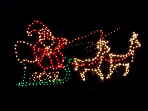santa lights santa s sleigh lights picture free photograph