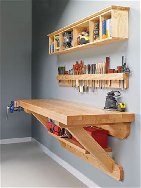que woodwork wall mounted workbench woodsmith plans
