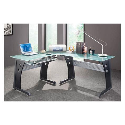 l shaped glass top computer desk techni mobili l shaped glass top computer desk graphite