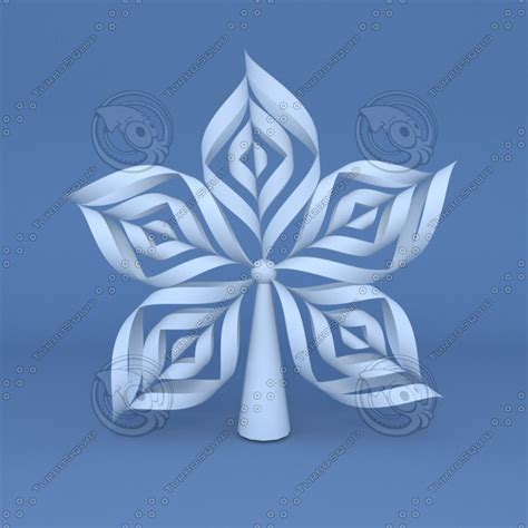 origami snow flakes 3d model origami snowflake tree topper